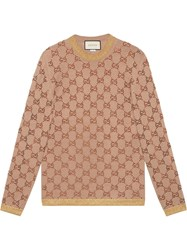 Gucci Sweater With Crystal Gg Motif Nude And Neutrals