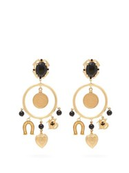 Dolce And Gabbana Charm Embellished Hoop Clip Earrings Gold
