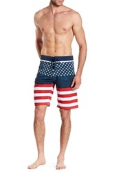 Burnside Lace Up American Flag Board Short Blue