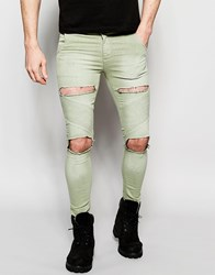 Sik Silk Siksilk Extreme Super Skinny Utility Jeans Green