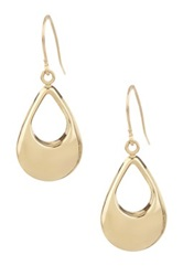 14K Yellow Gold Open Teardrop Dangle Earrings Metallic