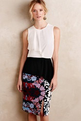 Bailey 44 Cascade Colorblocked Peplum Top Black And White