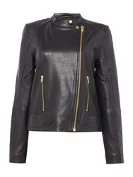 In Wear Collarless Leather Jacket Black