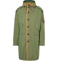 Marc Jacobs Oversized Grosgrain Trimmed Cotton Ripstop Parka Army Green