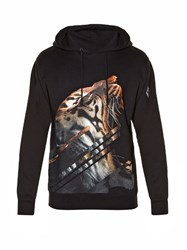 Marcelo Burlon Cerro Escorial Tiger Print Hooded Sweatshirt Black White