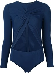 Thakoon Front Twist Bodysuit Blue