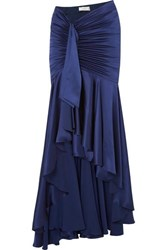 Caroline Constas Elise Ruched Draped Silk Satin Maxi Skirt Navy