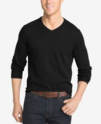 Izod Men's Big And Tall V Neck Sweater Black