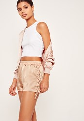 Missguided Lace Up Side Satin Shorts Nude Champagne