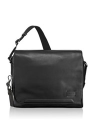 Tumi Leather Messenger Bag Black