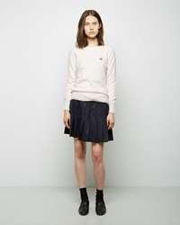 Maison Kitsune Pleated Wool Skirt Navy