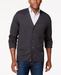 Tricots St Raphael Button Front V Neck Cardigan Charcoal Heather