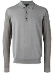 Lanvin Long Sleeved Polo Top Grey