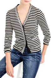 J.Crew Women's Stripe Harlow Cardigan Sweater Coal Ivory
