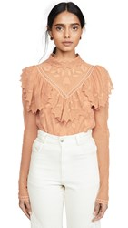See By Chloe Ruffled Collar Blouse Smooth Brown