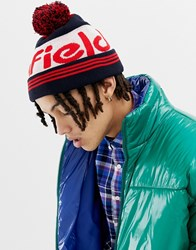 Penfield Sandford Bobble Logo Beanie In Navy Red