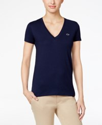 Lacoste V Neck T Shirt Navy Blue
