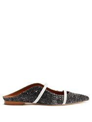 Malone Souliers Maureen Backless Glitter Leather Flats Black White