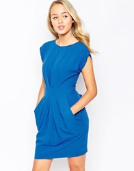 Closet Pleat Front Dress With Tie Back Blue