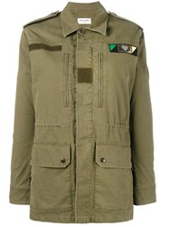Saint Laurent Love Logo Military Parka Green