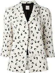 Eggs Half Moon Print Single Breasted 'Rafael' Blazer Nude And Neutrals