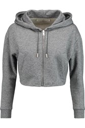 Golden Goose Cropped Cotton Jersey Hooded Sweatshirt Gray