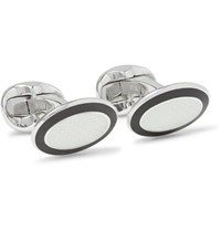 Deakin And Francis Enamelled Sterling Silver Cufflinks White
