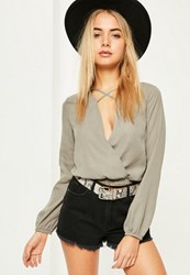 Missguided Grey Cross Front Crop Blouse