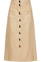Nicholas Woman Button Detailed Linen Midi Skirt Beige