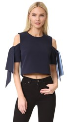 Milly Cropped Ansley Top Navy Sky