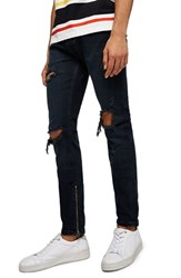 Topman Ripped Stacker Stretch Skinny Fit Jeans Blue