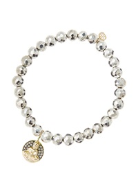 Sydney Evan 6Mm Faceted Silver Pyrite Beaded Bracelet With 14K Gold Diamond Sitting Buddha Charm Made To Order