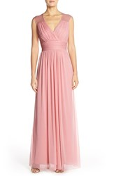 Women's Alfred Sung Shirred Chiffon Cap Sleeve Gown Blossom