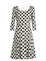 Dolce And Gabbana Polka Dot Print Silk Blend Charmeuse Dress White Multi