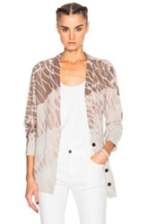 Raquel Allegra Deep V Cardigan Sweater In Neutrals Ombre And Tie Dye Neutrals Ombre And Tie Dye