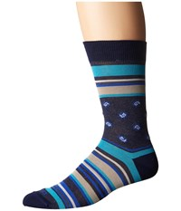Etro Bold Striped Socks Blue Men's Crew Cut Socks Shoes