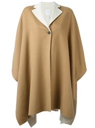 Agnona Notched Lapel Cape Nude And Neutrals