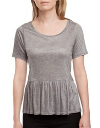 French Connection Heathered Peplum Jersey Top Grey