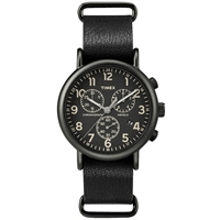 Timex End. Exclusive Weekender Chrono Oversized Watch Black And Black