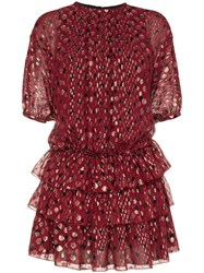 Saint Laurent Ruffle And Polka Dot Silk Blend Dress Red