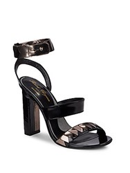 Robert Clergerie Ankle Strap Leather High Heel Sandals Black
