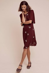 Anthropologie Beaded Firefly Dress Wine