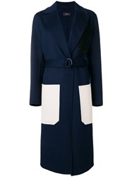 Joseph Long Contrast Pocket Coat Blue
