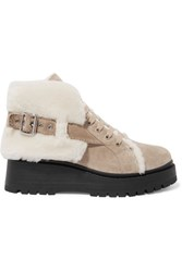 Miu Miu Shearling Lined Suede Ankle Boots Sand