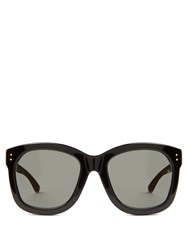Linda Farrow Wood And Acetate D Frame Sunglasses Black