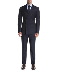 Armani Collezioni Wide Stripe Double Breasted Wool Two Piece Suit Navy