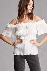 Forever 21 Accordion Open Shoulder Top White