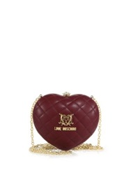 Love Moschino Heart Quilted Faux Leather Crossbody Bag Dark Red