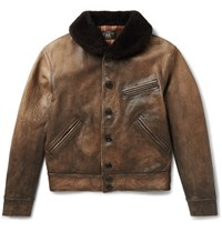 Rrl Billings Shearling Trimmed Distressed Leather Jacket Brown