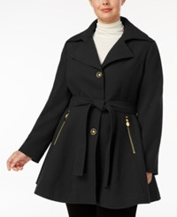Inc International Concepts Plus Size Skirted Walker Coat Created For Macy's Black